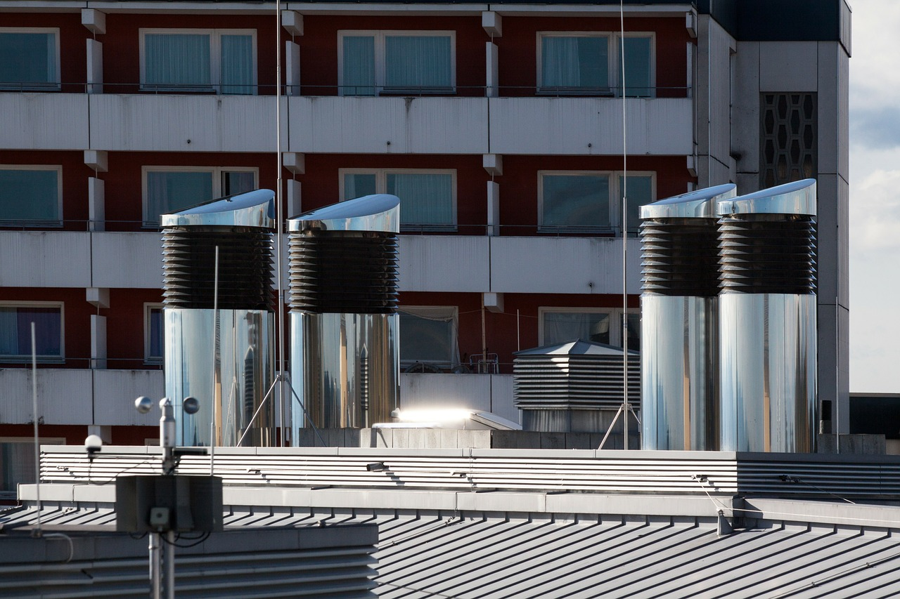 Metal Vents on a Rooftop