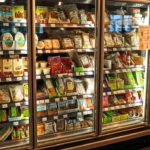 A refrigerated case in a grocery store
