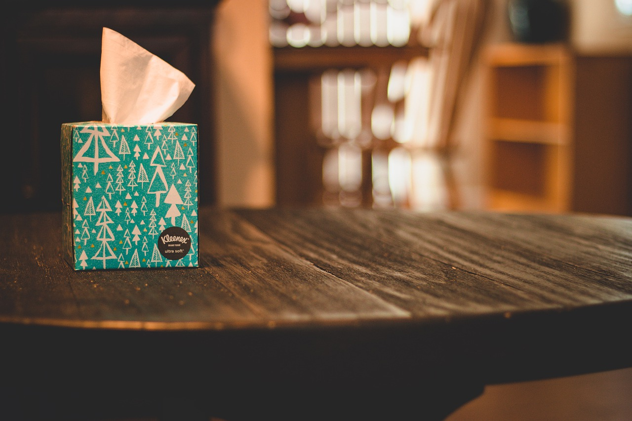 Tissue box on a table