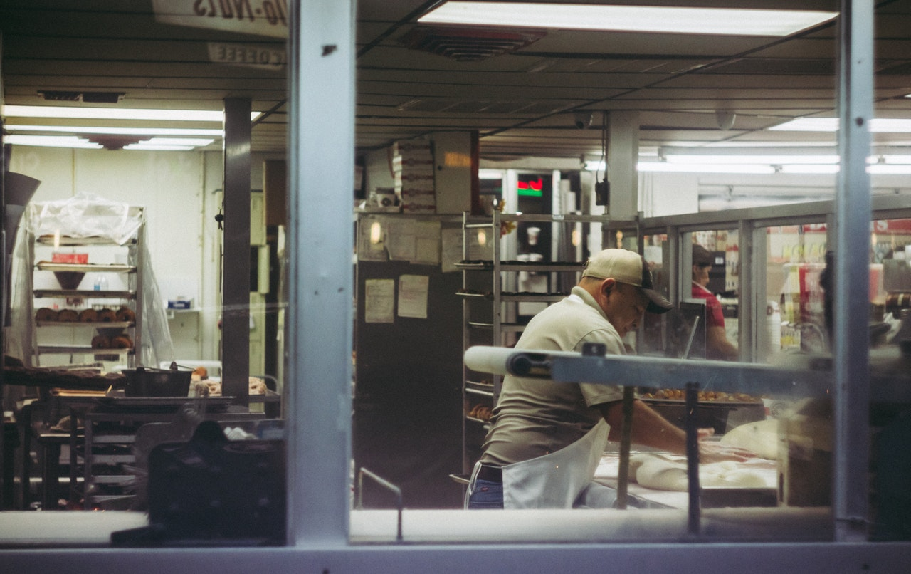 Shot looking into a commercial kitchen