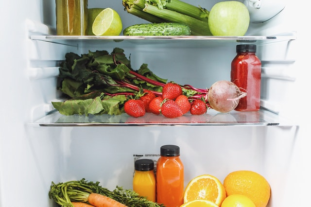 refrigerator with vegetables and fruits