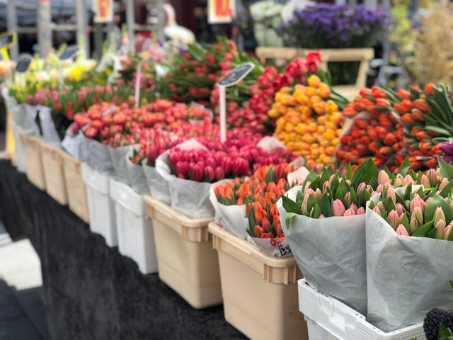 flowers at a market