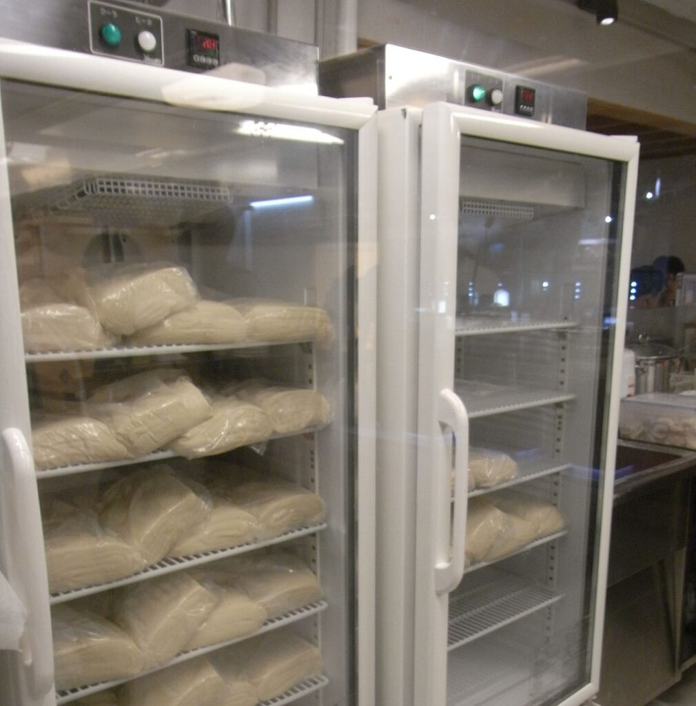 commercial freezer with bread